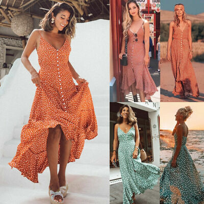 Women's Summer Maxi Boho Floral Dress Beach Cocktail Evening Party Long Sundress