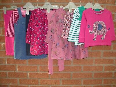 NEXT & JOULES Girls Pink Bundle Tops Dresses Leggings Tights Skirt Age 12-18m