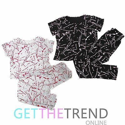 Girls Top & Leggings Set Kids Grafitti Graphic Print Crop Top and Pants Suit New