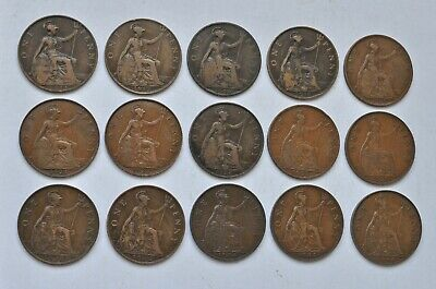 Date Run Of 15 George V Pennys, 1911 To 1936 British Coins Mostly Vf-Ef