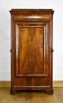 Antique flame mahogany tall bookcase / side cabinet