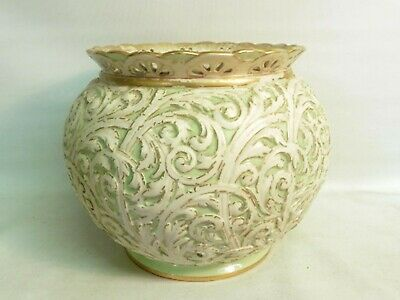 19Thc Worcester Grainger & Co Royal China Works Jardiniere, Lime Green Foliate