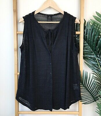 Metalicus Black Knit Top One Size Tie Neck Button Front Textured Casual Womens