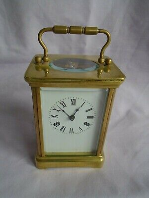 ANTIQUE  ENGLISH TIMEPIECE CARRIAGE CLOCK c1900 WITH KEY IN GOOD WORKING ORDER