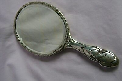 Antique  Silver Ladies Bevelled Glass Hand Mirror William Comyns London 1911