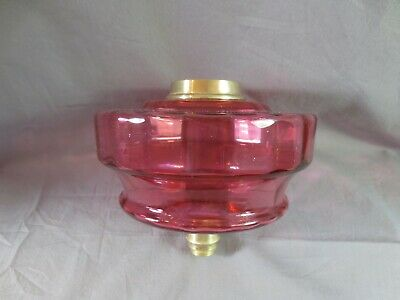 Superb Antique Victorian Cranberry Glass Duplex Oil Lamp  Font Fount