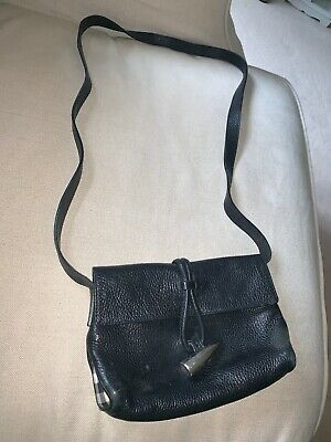 Burberry Cross Body Bag, Vintage, Black, Real Leather, 100% Authentic