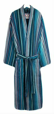 Bown of London Mens St David Stripe Dressing Gown - Turquoise/Blue/White
