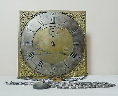 Antique Brass Long case Clock Dial Movement Face Jno PIKE WIVELISCOMBE Somerset