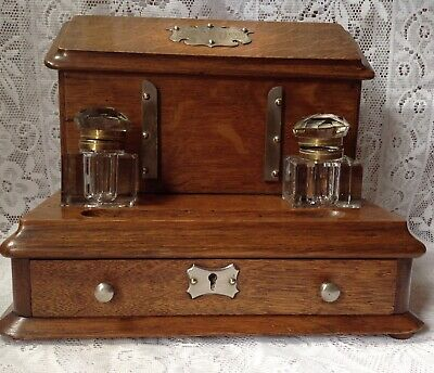 Edwardian Golden Oak Stationary Box Stand With Cut Glass Inkwells, C1912