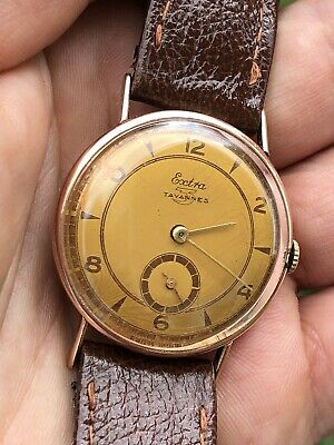 1940s Vintage Tavannes Extra 14k Rose Gold Mens Watch Swiss Made 32,2mm
