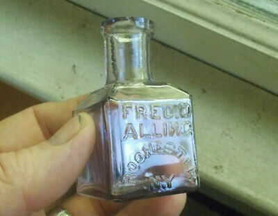 FRED D.ALLING ROCHESTER N.Y FRONT EMB 1870s SQUARE SCHOOLHOUSE INK BOTTLE