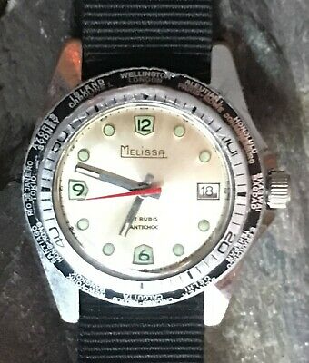 Vintage 'Melissa' divers style manual wristwatch. 17 Jewel with date.