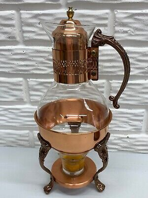 Vintage Copper & Glass Coffee/Tea Pot Warmer-Server Carafe Includes Votive Cup