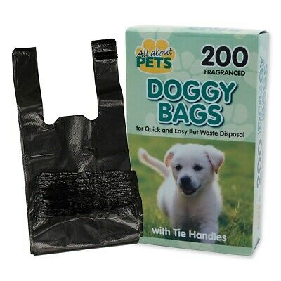 200x SCENTED DOG POOP BAGS Tie Handles Clean Hygienic Puppy Pet Doggy Disposable