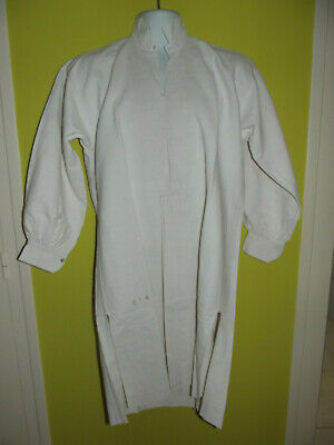Antique Vintage French Linen Workers Smock Workwear Shirt Tunic Monogram Cr