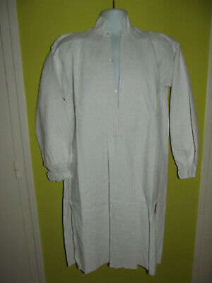 ANTIQUE VINTAGE FRENCH LINEN WORKERS SMOCK WORKWEAR SHIRT TUNIC MONOGRAM PC (b)