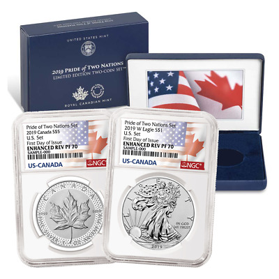 2019 Pride of Two Nations 2pc. Set U.S. Set NGC PF70 FDI Flags Label W/ OGP OGP7