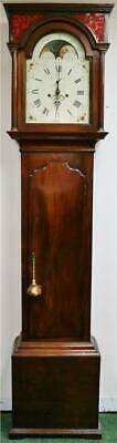 Rare Antique English C1794 8 Day Mahogany Moonphase Grandfather Longcase Clock