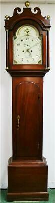 Antique English 19thC 8 Day Mahogany Bell Striking Grandfather Longcase Clock