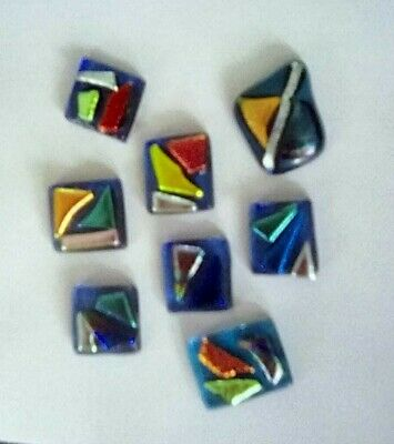 LOT of 8pcs Fused Dichroic Glass Cabochons - Jewellery/Craft Making