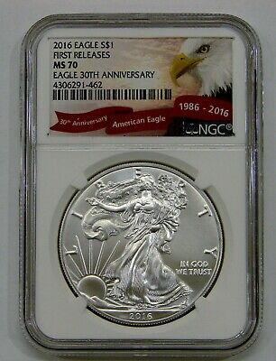 2016 - Silver American Eagle - NGC MS 70 - 30th Anniversary - First Releases