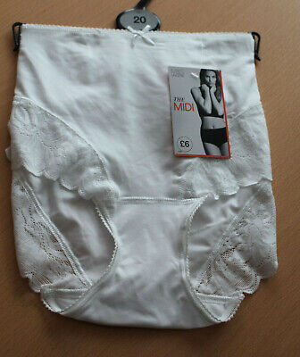 M&S Lingerie Size 20 Midi Briefs Knickers White Bnwt rrp £6