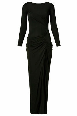 Badgley Mischka Black Women's US Size 10 Matte Jersey Ruched Gown $935- #604