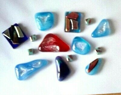 LOT of 14 pcs Fused Dichroic Glass Cabochons - Jewellery/Craft Making