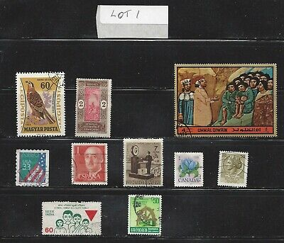 worldwide, lot of 10 different stamps, from 10 different countries, see scan