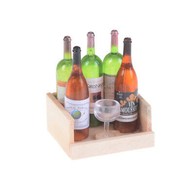 1Set Wine Juice Bottles With Cup Wood Rack 1:12 Dollhouse Miniature DecorationZX