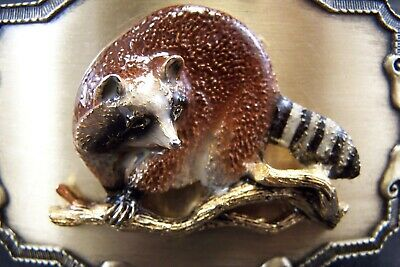 Vintage New Old Stock 1977 1978 Raintree 3 Dimensional Raccoon Coon Belt Buckle