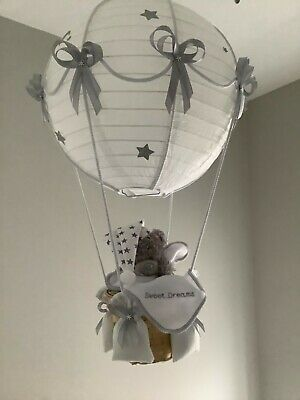 Starry night Hot Air Balloon nursery light shade Silver grey, made to order.