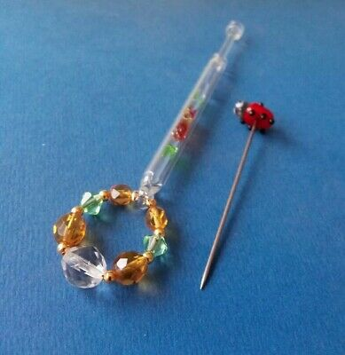 Clear Glass Lace Bobbin+Tube Inside with Green&Peach. Ladybird Pricker.Spangles.