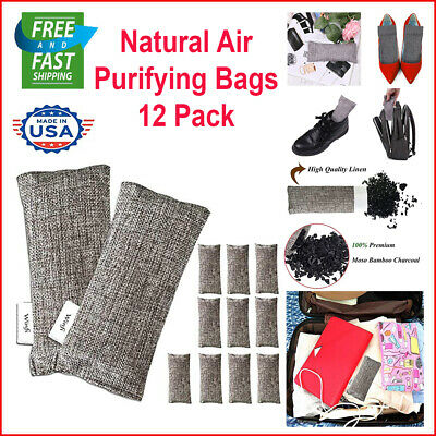 Air Purifying Bag Purifier Nature Fresh Charcoal Bamboo Mold Freshener 12 Pack