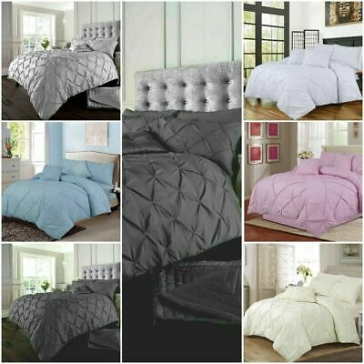 Pintuck Duvet Set Poly Cotton Quilt Cover Single Double Super King Size Bedding,