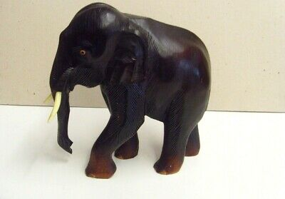 Large Dark Wooden  Carved Elephant