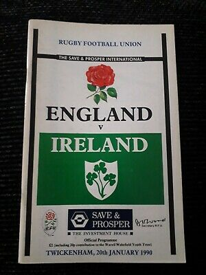1990 England V Ireland-Five Nations International Rugby Union Programme-Vgc