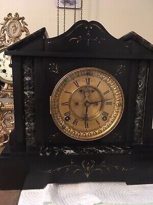 Elegant Ansonia Black Slate & Green/white  Marble Mantle Clock