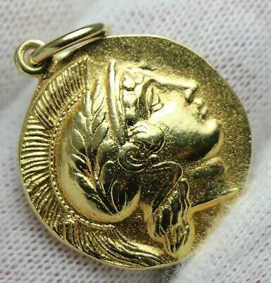 Ancient Greek 18K Gold Coin Pendant