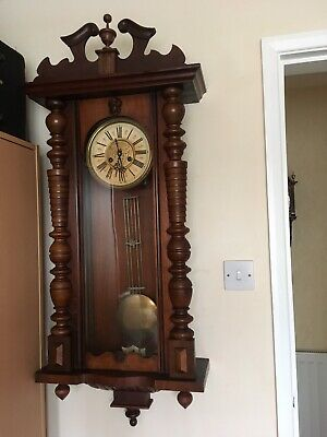 Stunning Large Long Cased Vienna Wall Clock With Gong Stroke