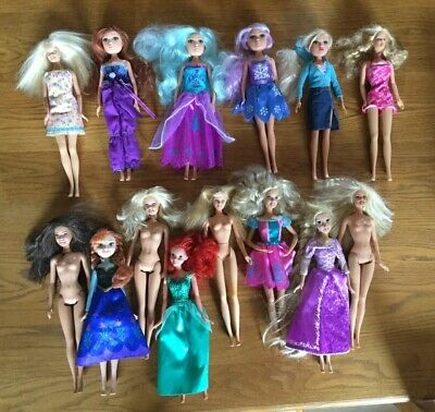 Big Beautiful Barbie Doll Bundle Of 14 Different, Disney & Others