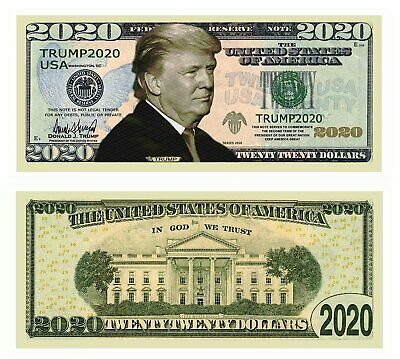 Pack of 25 Plus 5 Free Donald Trump 2020 Re-Election Presidential Dollar Bills