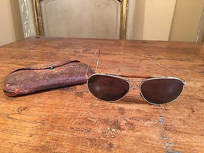 Antique WWII Ful Vue Aviator Sunglasses Spectacles Pilot Retro Old Vtg 12k Gold