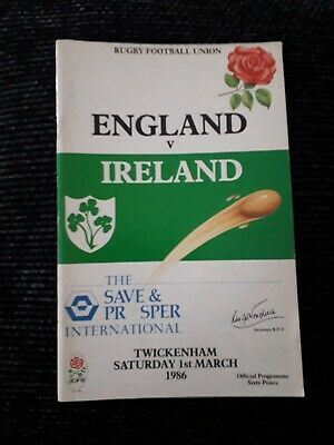 1986-England V Ireland-Five Nations-International Rugby Union Programme