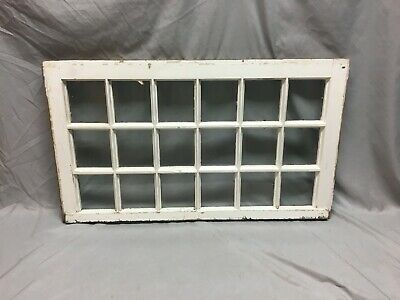 Antique 18 Lite Window Sash  Shabby Vtg Chic Photo Frame 20X34 Cottage 103-19J