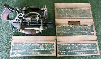 Vintage Stanley No 55 Combination Plane with 4 boxes of original cutters