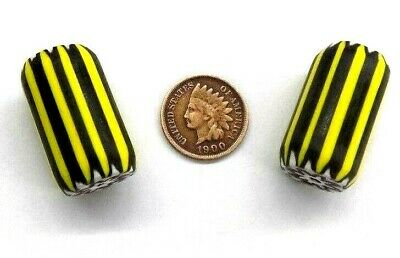Pair of antique style Yellow Jacket Chevron Trade Beads      c74  Bin L3