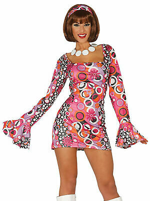 Ladies Disco Costume Adults 60s 70s Hippie Fancy Dress Womens 1960s 1970s Outfit