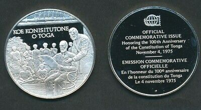 Tonga: 1975 Constitution 100th Anniversary Cameo Proof Silver Medal 20g